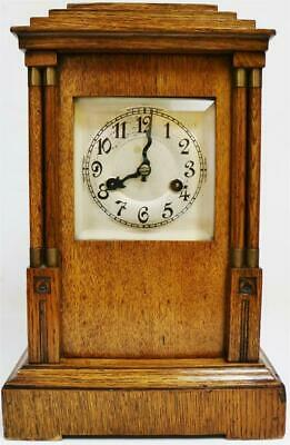 Antique Arts & Crafts Oak HAC 14 Day Gong Striking Triple Pad Top Bracket Clock