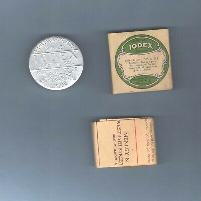 Physician SAMPLE Medicine Iodex Salve Tin Container Can Box Leaflet Vintage