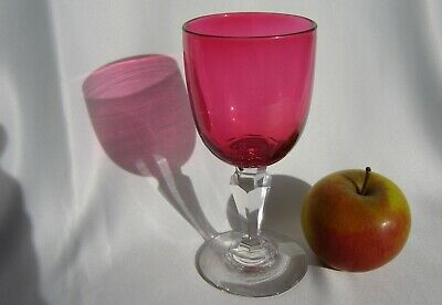 Victorian Rich Cranberry Faceted Stem Wine Glass C3