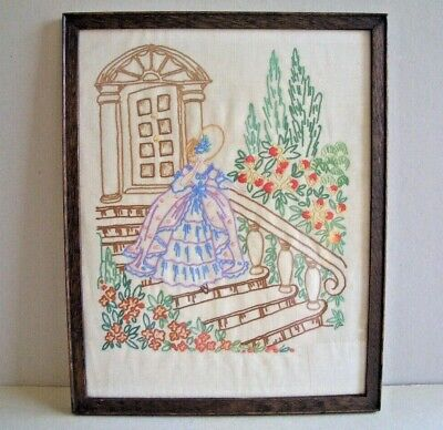 "1930's Vintage Embroidered Crinoline Lady Framed Picture 12"" x 9.75"""