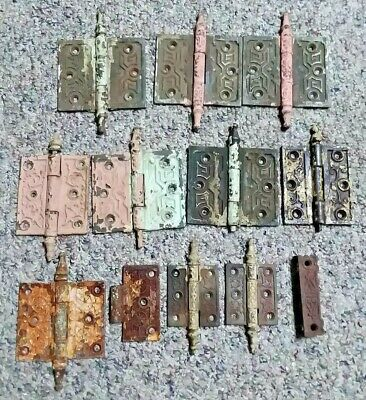 Lot Of 10 Ornate Victorian Cast Iron Steeple Top Hinges Various Sizes Eastlake ?