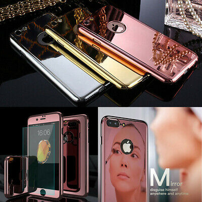360 Hybrid Plating Mirror Case For Apple iPhone 7 8 Plus XS Max XR X Shockproof
