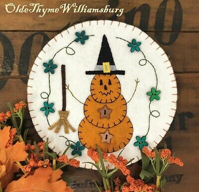 Primitive Stitchery HALLOWEEN Pumpkin Witch & Broom Penny Rug ~ Fall Candle Mat