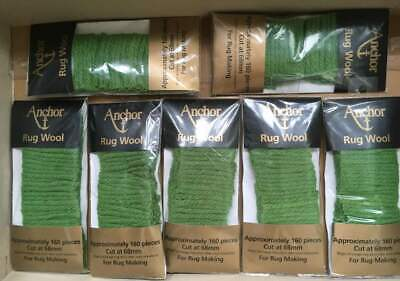 7 packs Anchor Pure Latch Hook Wool - Green 007. 160 strands per pack 6 ply