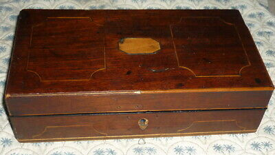 Antique Inlaid Mahogany Lidded  Box Needs Work + Collection Of Ink Pens Nibs +
