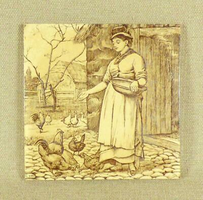 MINTONS PICTORIAL TILE - Girl Feeding Poultry & Ducks - W Wise, Country Pursuits