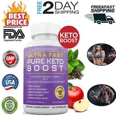 Ultra Fast Keto Boost BHB Supplement with 800mg Ketone Salts for Ketosis 60 Caps