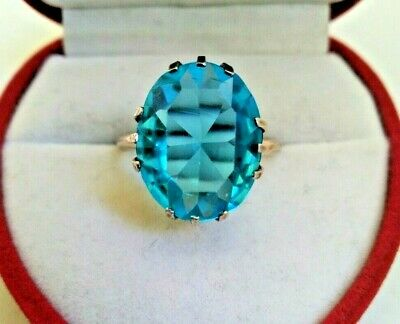 Rare Vintage Ring Blue Stone Silver 875 USSR Star Stamp Russian Soviet Antique