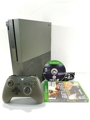 Microsoft Xbox One S 1TB Military Green Console 1681 Special Edition w/ 2 Games