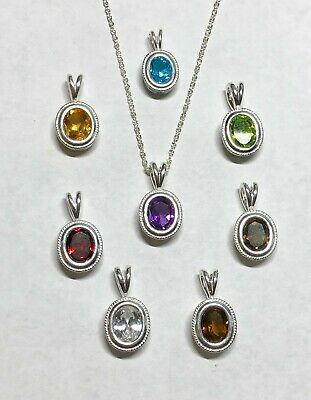 "Sterling Silver Genuine Semi-Precious Gemstone Rope Bezel Pendant & 18"" Necklace"