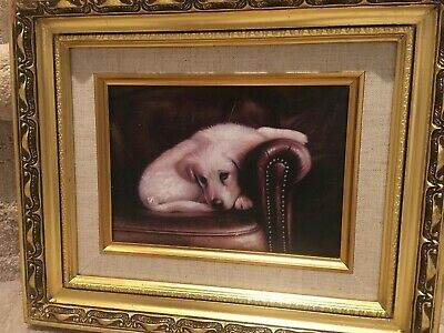 COUNTRY FRENCH FRAMED Oil Painting-Puppy On Leather Sofa ...