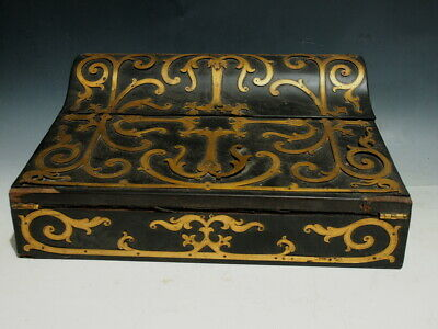 Antique French Superb Lap Desk/Writing Box w/Brass Burlwood & Ebony wood