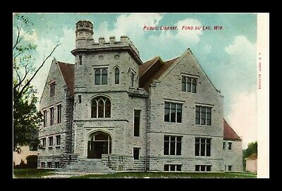 Dr Jim Stamps Us Public Library Exterior View Fond Du Lac Wisconsin Postcard