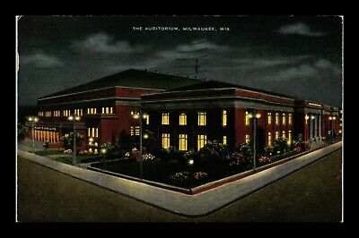 Dr Jim Stamps Us Auditorium Exterior View Milwaukee Wisconsin Linen Postcard