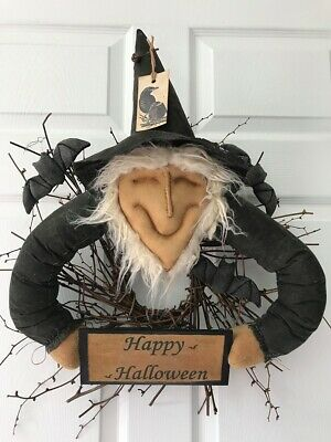 "Primitive* Handmade* ""Happy Halloween"" Witch Wreath* Door Greeter * Ornies* Bats"