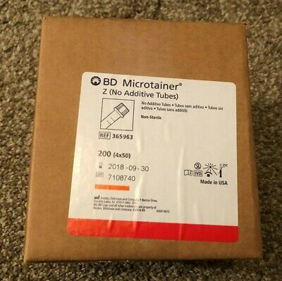 BOX/200 - BD Microtainer Z Tubes #365963 (No Additive) Expired Medical Supplies