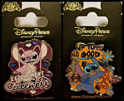 Disney Parks 2 Pin Lot STITCH - Angel Experiment of Cuteness +  Up to no Good