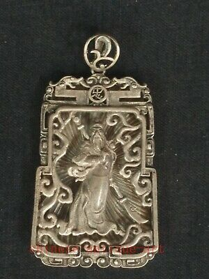 Collection Chinese Tibet Silver Hand-made Guan Yu Statue Necklace Pendant Gift