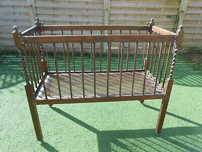 Antique oak baby cot, needs tlc, suit prop or dolls/teddies display