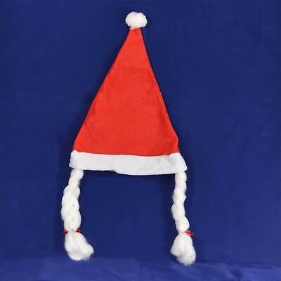 5 Female Ms Santa Hat with Plaits Christmas Xmas Fancy Dress Party Accessories
