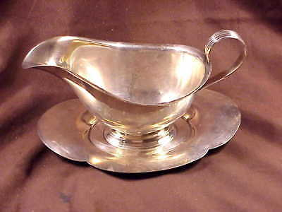 Gorham Sterling Silver, Gravy Boat W/Attached Under Plate #706, 1976, Excellent
