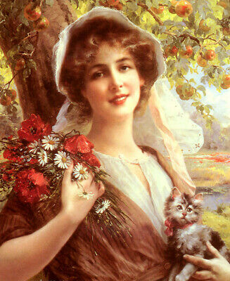 Oil painting emile vernon - country summer young girl in landscape & flowers cat