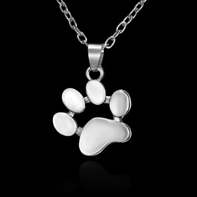 Chic Cat-pad Dog Paw Heart Silver Necklace Pendant Christmas Women Jewelry Gift