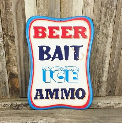 Beer Bait Ice Ammo Metal Tin Sign Vintage Pub Bar Brewery Garage Man Cave New