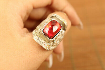 unique chinese old natiral red jade carved tibet silver ring  USA 7 / 0.7inch
