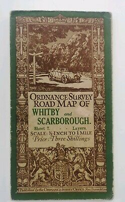 ordnance survey vintage cloth map Whitby and Scarborough good condition for age