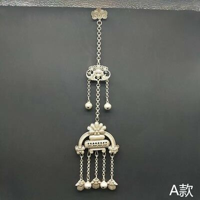 Old jewelry Butterfly handmade miao silver handing ornament chain pendant 1piece