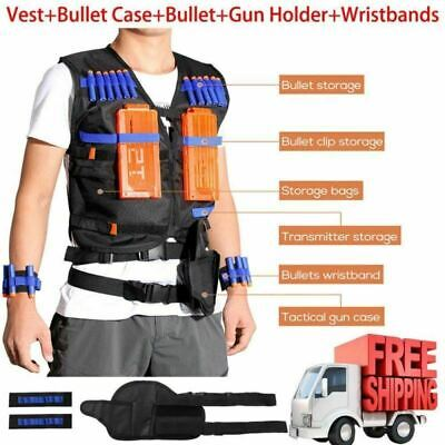 Tactical Vest Adjustable Black Jacket Accessories Glasses Mask Bullets For NERF