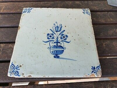 Antique Delft Blue White Tile Early 17c Original Rare
