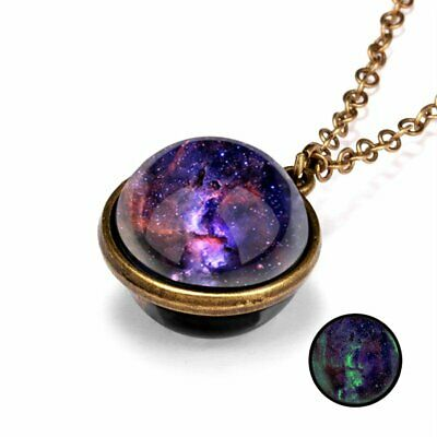 Glow in the Dark Galaxy System Double Sided Glass Dome Vintage Pendant Necklace