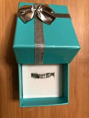 Authentic Tiffany & Co Sterling Silver 3 Diamond Somerset Mesh Band Ring Size 4