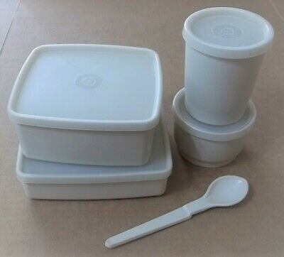5 Pc.Tupperware Lunch Containers - Sandwich,Square Round,Snack Cup,Tumbler,Spoon