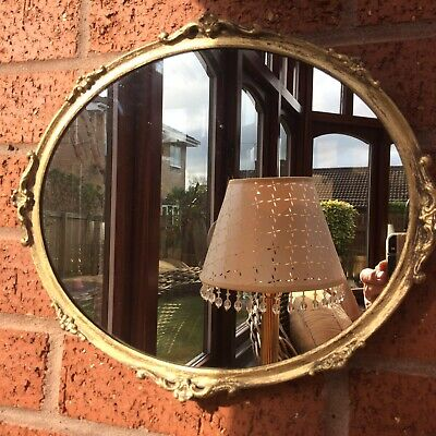 Vintage  Brass Gilded Small Wall Mirror Art Nouveau Style Rococo Stunning
