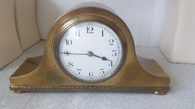 Antique  / Vintage Brass French  -Napoleon Style - Mantel Clock - 9 X 5 Inch