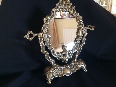 Vintage Gorgeous French Style Vanity Solid Brass Putti Rococo Mirror
