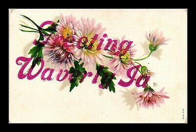 Dr Jim Stamps Us Flowers Greetings Waverly Iowa Embossed Glittered Postcard