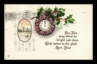 Dr Jim Stamps Us New Year Embossed Topical Greetings Winter Scene Postcard