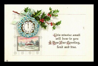 Dr Jim Stamps Us New Year Greetings Embossed Topical Winter Scene Postcard
