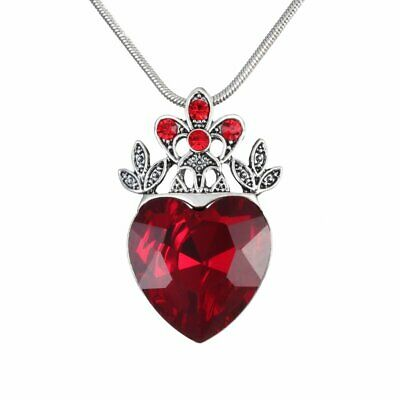 Fashion Women Red Crystal Queen of Heart Crown Pendant Necklace Wedding Jewelry