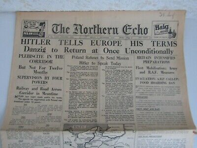 ww2 newspaper start of war - day poland invaded - 1st sept 1939 northern echo