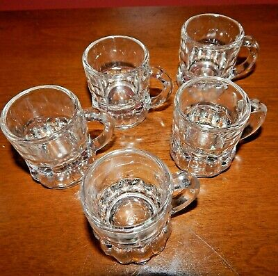 SET OF 5 TINY FEDERAL CLEAR GLASS HANDLED MUG STYLE SHOT GLASSES Excellent Cond.