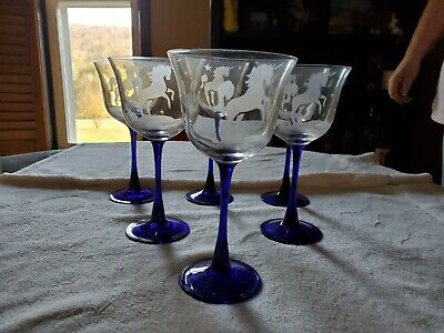 Blue stemmed wine glasses, clear glass etched with unicorn and stars, set of 6