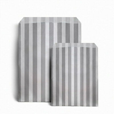 """200 x GREY CANDY STRIPE PAPER BAGS SWEET WEDDING GIFT SHOP PARTY 5"""" x 7"""""""