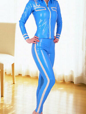 100% Latex Rubber Women Sexy Ligth blue Catsuit Tigth 0.4mm Overall Size S-XXL