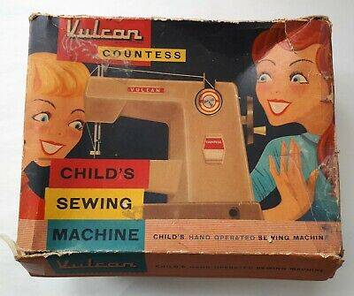 c1958-1962 VULCAN COUNTESS Child's Sewing Machine. FWO + Box + Instructions. VGC