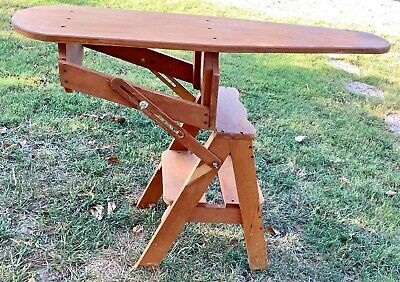 Vintage antique Wood wooden Chair Step Stool Ladder & Ironing Board 3 In 1